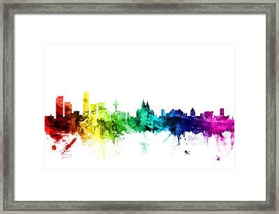 Liverpool England Skyline Framed Print by Michael Tompsett