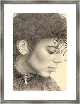 Framed Print featuring the drawing Michael Jackson #four by Eliza Lo