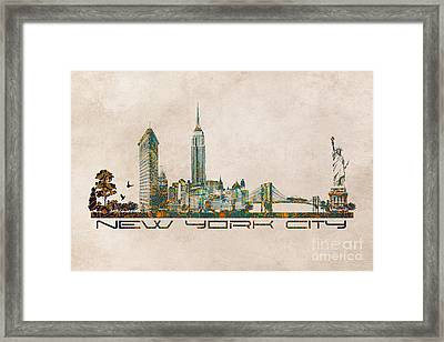 New York City Skyline Framed Print by Justyna JBJart