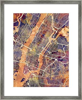 New York City Street Map Framed Print by Michael Tompsett