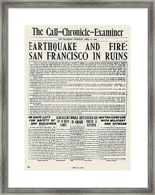 San Francisco: Earthquake Framed Print by Granger