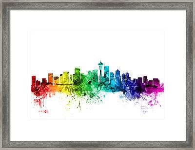 Seattle Washington Skyline Framed Print by Michael Tompsett