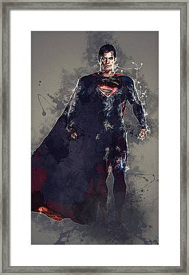 Superman Framed Print by Elena Kosvincheva