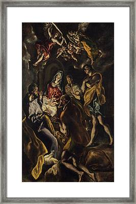 The Adoration Of The Shepherds Framed Print by El Greco