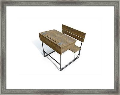 Vintage Wooden School Desk Framed Print by Allan Swart