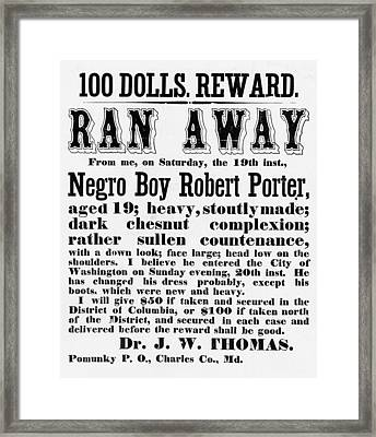 100 Dolls. Reward Ran Away Framed Print