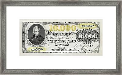 $10,000 Bill Circa 1878 Framed Print