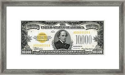 Vintage $10,000 Bill Circa 1934 Framed Print