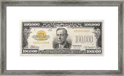 $100,000 Bill Circa 1934 Framed Print