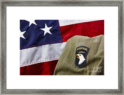 101st Airborne Division Screaming Eagles Patch On Vietnam Era Uniform In Front Of United States Of America Flag Framed Print by Joe Fox
