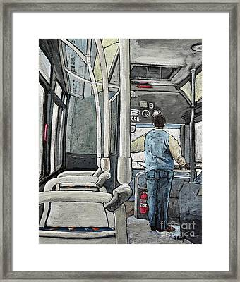 107 Bus On A Rainy Day Framed Print by Reb Frost
