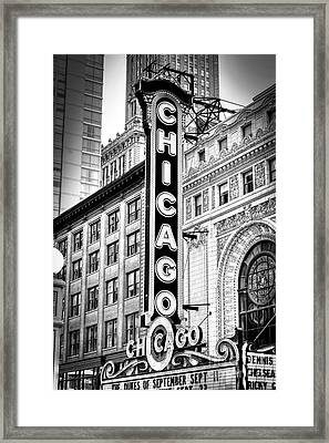 1077 Chicago Theater Black And White Framed Print