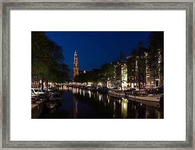11 05 P M Blue Hour - Magical Amsterdam In June Framed Print by Georgia Mizuleva