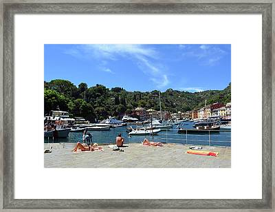 6 August 2016. Photography Of The Beautiful Portofino Fishing Village In Italy. View On Small Bay An Framed Print by Oana Unciuleanu