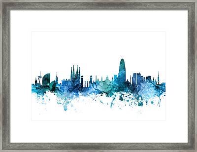 Barcelona Spain Skyline Framed Print
