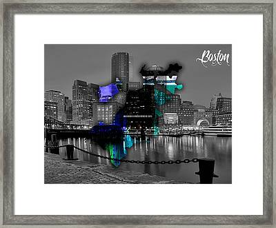 Boston Map And Skyline Watercolor Framed Print