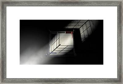 Boxing Ring Corner Lit Framed Print by Allan Swart