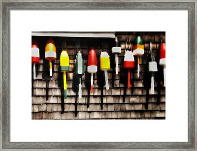 11 Buoys In A Row Framed Print by Thomas Schoeller