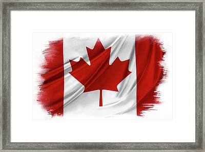 Canadian Flag  Framed Print by Les Cunliffe