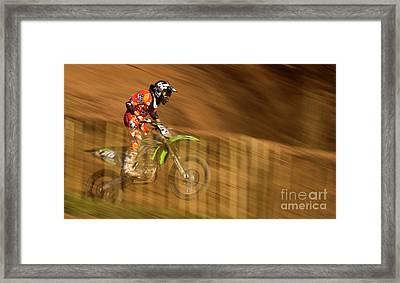 Motocross Framed Print by Angel  Tarantella