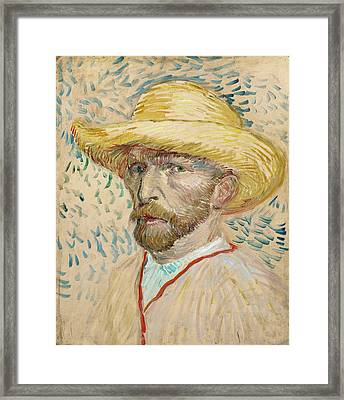 Self - Portrait With Straw Hat Framed Print by Vincent Van Gogh