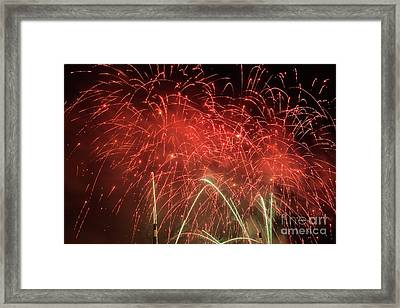 Spectacular Fireworks Show Light Up The Sky. New Year Celebration. Framed Print by Michal Bednarek