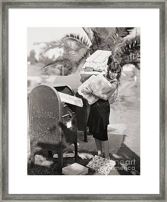 Silent Film Still: Woman Framed Print by Granger