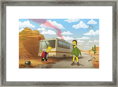 11746 The Simpsons Breaking Bad Humor Ned Flanders Bart Simpson Crossover Rv Framed Print