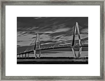 Ravenel Bridge Black And White Sunset Framed Print by Adam Jewell