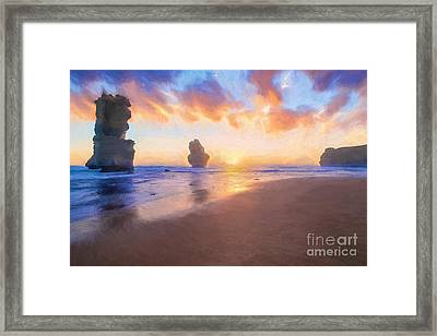 12 Apostles With Marshmallow Skies    Og Framed Print