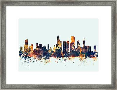 Chicago Illinois Skyline Framed Print by Michael Tompsett