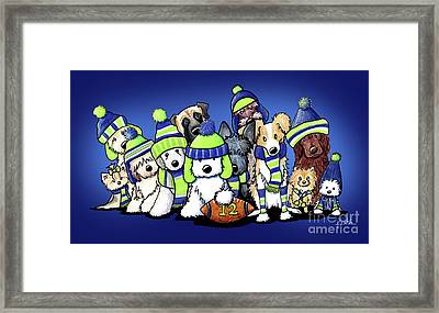 12 Dogs On Blue Framed Print by Kim Niles