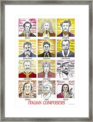 12 Italian Composers Framed Print by Paul Helm