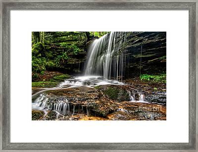 Lin Camp Branch Waterfall Framed Print by Thomas R Fletcher