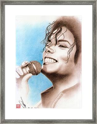 Framed Print featuring the drawing Michael Jackson #six by Eliza Lo