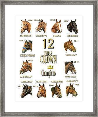 12 Triple Crown Winners Framed Print by Pat DeLong