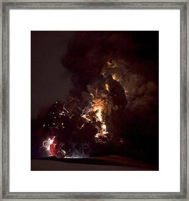 Volcanic Lightning, Iceland, April 2010 Framed Print by Olivier Vandeginste