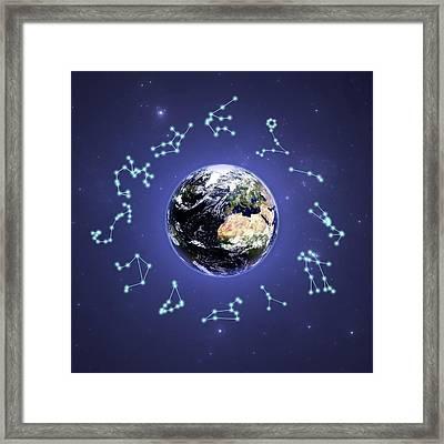 12 Zodiac Constellations Framed Print