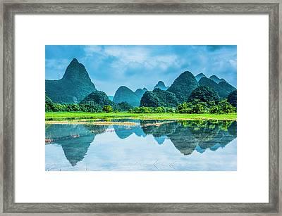 Karst Rural Scenery In Raining Framed Print