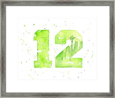 12th Man Seahawks Art Go Hawks Framed Print by Olga Shvartsur