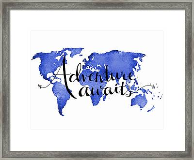 12x16 Adventure Awaits Blue Map Art Framed Print by Michelle Eshleman