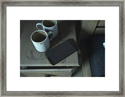Bedside Table And Cellphone Framed Print by Allan Swart