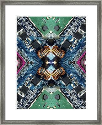 Computer Circuit Board Kaleidoscopic Design Framed Print