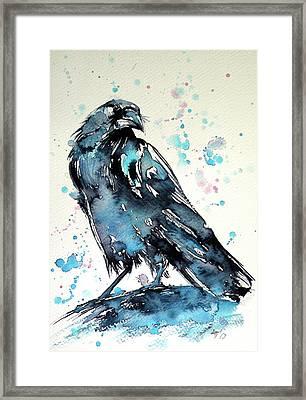 Framed Print featuring the painting Crow by Kovacs Anna Brigitta