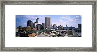 High Angle View Of A City Framed Print