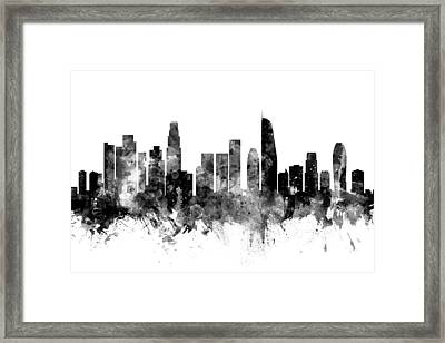 Los Angeles California Skyline Framed Print by Michael Tompsett