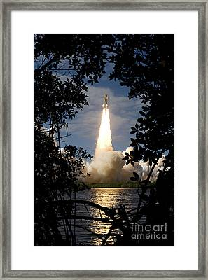Space Shuttle Atlantis Lifts Framed Print