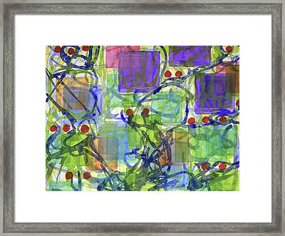 Squares With Tangles And Red Points Framed Print