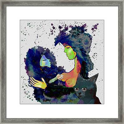 130 - Elfin  Baby Love With Cat   Framed Print by Irmgard Schoendorf Welch