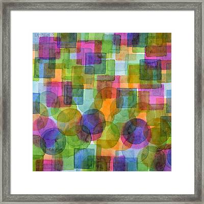Befriended Squares And Bubbles Framed Print